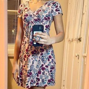 Ultra Flirt Floral Print V-Neck Cinched Dress S